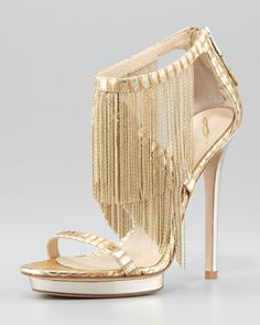 Metal Fringe Back-Zip Sandal, Gold by B Brian Atwood at Neiman Marcus. Vegas. Done.