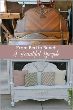 An old bed was beautifully decorated in this DIY upcycle.- Ein altes Bett wurde in diesem DIY-Upcycle wunderschön in eine schöne Bank verwandelt. An old bed was beautifully transformed into a beautiful bench in this DIY upcycle. Refurbished Furniture, Repurposed Furniture, Rustic Furniture, Furniture Makeover, Antique Furniture, Modern Furniture, Luxury Furniture, Outdoor Furniture, Cheap Furniture