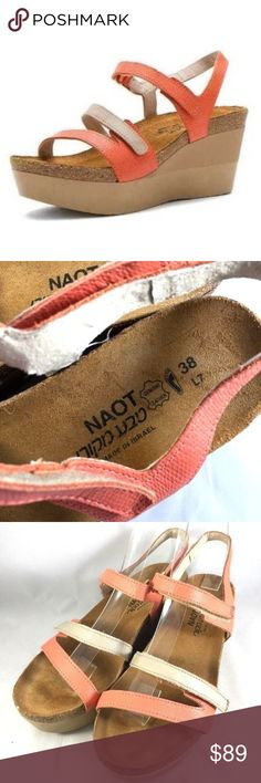 "Naot Canaan Peach Linen Sandal Platform Wedge 38 7 Naot Canaan Peach/Linen Sandals. MSRP $169+tax!  Just like a princess, all eyes will be on you when you make your way through the crowd in the Canaan wedge from Naot.  Leather upper with thin straps Hook-and-loop strap for easy adjustability Breathable leather lining Suede-wrapped cork and latex footbed for optimal comfort Durable polyurethane outsole Size: 7-7.5 US / 38 EU 3"" heel / 1.5"" platform Insole: 9.5"" Made in Israel Condition: Worn…"