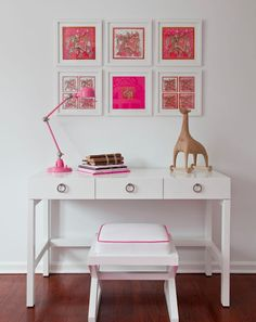 Hot pink scarves make the perfect statement  and focal piece when framed and used as art.
