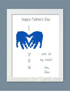 I Love You Baby Handprint Art Personalized by CreationsbyTamiLynn Daycare Crafts, Baby Crafts, Toddler Crafts, Preschool Crafts, Kindergarten Crafts, Kid Crafts, Fathers Day Crafts, Valentine Day Crafts, Toddler Fathers Day Gifts