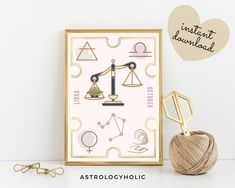 LIBRA Astrology Wall Art,Horoscope Cards, Zodiac Print, Tarot Cards, Star Sign,Birthday gift, Astrology Print,Printable,Constellation