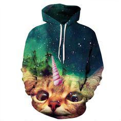 3D Printed Hoodies - Cat Long Sleeve Loose Sweatshirt