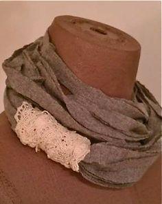 DIY recycle tshirt scarf/necklace