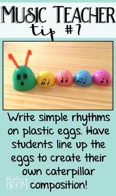 Fun & easy music rhythm composition idea for spring. How cute is this rhythm caterpillar?