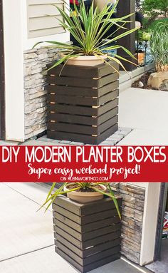 If you have ever wondered how to make a planter box or wanted to just spruce up your front porch or garden, then you don't want to miss this tutorial for these DIY Modern Planter Boxes. They are the perfect quick & easy weekend project. Building Planter Boxes, Garden Planter Boxes, Porch Planter, Planter Ideas, Modern Planters, Outdoor Planters, Outdoor Decor, Outdoor Living, Easy Home Decor