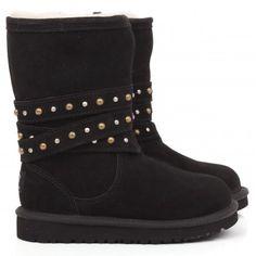 UGG Girls Black studded fir line boot | AlexandAlexa