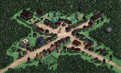 OC] The forest town of Oakshire Isometric Map : DnD Isometric map Fantasy city map Forest village