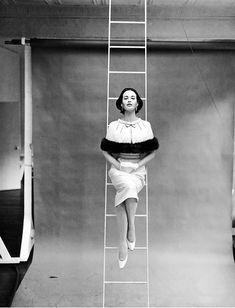 Richard Avedon, Model Gloria Vanderbilt in dress by Mainbocher New York, for Harper's Bazaar, 1955.