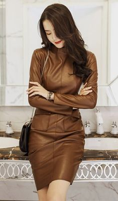[Rakuten Ichiba] Ladies One Piece Faux Leather Leather One Piece Knee Length Good brown: Fairy Garden Sexy Outfits, Fashion Outfits, Women's Fashion, Brown Leather Skirt, Leather Dresses, Leather Outfits, Leather Skirts, One Piece Outfit, Asian Fashion