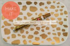 Leopard gold leaf table tray