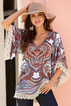 Boston Proper Paisley lace trim tunic top