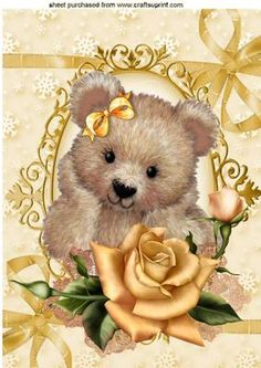 FUZZY BEAR WITH PRETTY GOLD ROSES ON LACE A4 on Craftsuprint - Add To Basket!