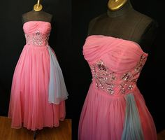 1950's Designer Emma Domb pink and blue chiffon by wearitagain, $350.00