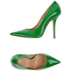 Fiorangelo Pump ($464) ❤ liked on Polyvore featuring shoes, pumps, heels, green, green shoes, leather sole shoes, heels & pumps, leather stiletto shoes y stilettos shoes