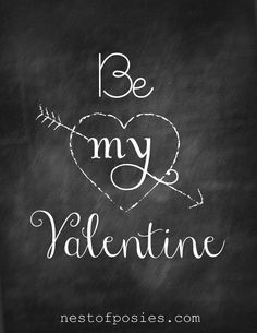 Be my Valentine #Chalkboard #Printable