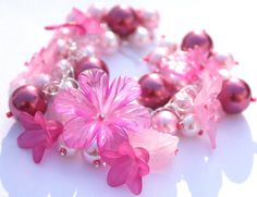 Chunky charm bracelet  Pink  lucite arcrylic flowers by SassySpark, $24.00