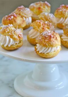 'Cream Puffs with Strawberry Cream' Learn more at   livingtastefully.com - Wendy Schultz - Party Food.