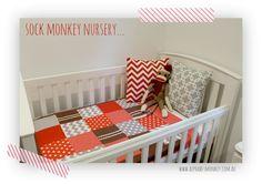 sock monkey nursery, patchwork quilt by Alphabet monkey
