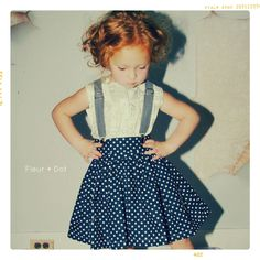 Girl Twirl Skirt: Extra Full Skirt in Navy Blue with White Polka Dots from the Spring Summer Collection by Fleur and Dot. $49.00, via Etsy.