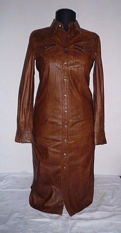 Ralph Lauren tan leather shirt dress, XS, UK6   eBay