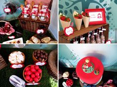 flower pots with lollies.   strawberry-cones in crate