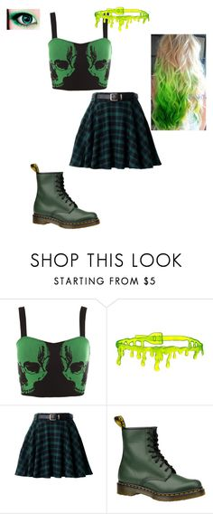 """""""Green - contest"""" by messed-up-soul ❤ liked on Polyvore featuring Hot Topic and Dr. Martens"""