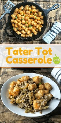 The Best Easy Tater Tot Casserole w/ ground beef and green beans, a classic dinner recipe updated. This healthy one-pan dinner meal is a kid favorite! A lightened up version made without canned soup. A simple dinner recipe with only a handful of ingre Tater Tots, Easy Tater Tot Casserole, Casserole Dishes, Healthy Casserole Recipes, Easy Healthy Recipes, Easy Dinner Recipes, Healthy Snacks, Healthy Choices, Comfort Food