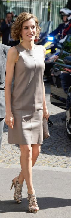 Queen Letizia of Spain attends a meeting at the Library of the Cervantes Institute in Paris 2015-06-04