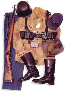 "Private, Luftwaffe, France 1944   01 - M-40 helmet  02 - Einheitsfeldmütze M-43 field cap  03 - M-43 sweatshirt in ""Sumpftarnmuster"" camo  04 - trousers  05 - webbing  06 - 7,92 mm Mauser 98k rifle with bayonet  07 - M-31 breadbag  08 - M-31 canteen  09 - M-39 boots  10 - dog tag  11 - ""Esbit"" pocket heater"