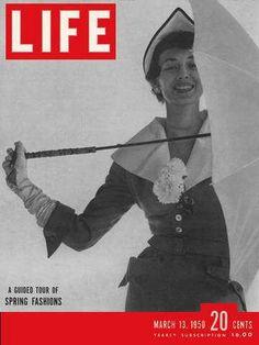 Original Life Magazine from March 1950 - Spring fashion, umbrella Life Magazine, History Magazine, News Magazines, Vintage Magazines, Life Cover, Evolution Of Fashion, Fashion Cover, Magazine Design, Vintage Looks