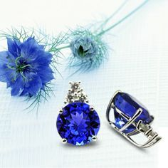 Tanzanite rounded shape earrings for spring collection