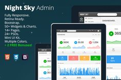 Night Sky Premium Bootstrap Admin ~ the best admin theme for Bootstrap, to date, with completely unique, pixel-perfect design and many fully customized widgets. more on http://html5themes.org
