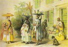 Benoit, drie verkoopsters van toiletartikelen, Suriname -