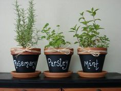 Clay Pots painted with chalkboard paint! So easy to do. My girls want to make an indoor garden. This is perfect. :) such a cute idea for your herbs pots! Do It Yourself Inspiration, Herb Pots, Herb Planters, Garden Pots, Balcony Garden, Clay Pot Crafts, Diy Clay, Herbs Indoors, Chalkboard Paint