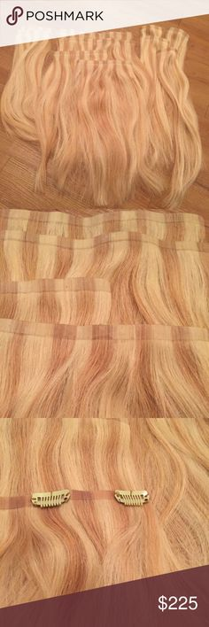 Real Human Hair Extensions Two full packs of real remy human hair extensions. Paid $450, $225 per pack. Barely used them so hoping to give someone a great deal on them who will actually use them. They are pre-layered to blend in naturally with your natural hair. They are Seamless Clip-Ins for them to easily blend in with your hair. Price is for BOTH packs as pictured! negotiable Accessories Hair Accessories