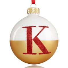 Holiday Lane Glass Initial Ball Ornament ($8) ❤ liked on Polyvore featuring home, home decor, holiday decorations, k, glass ball ornaments, glass home decor, holiday lane and glass globe ornament