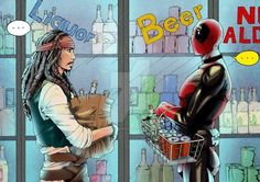 """You bought all the rum?"" When Captain Jack Sparrow meets Deadpool Ms Marvel, Marvel Jokes, Marvel Funny, Marvel Dc Comics, Marvel Avengers, Disney Marvel, Captain Jack, Deadpool Et Spiderman, Deadpool Funny"