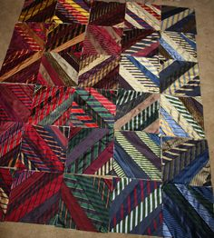 30 blocks using silk ties at Etsy Quiltsfromclothes