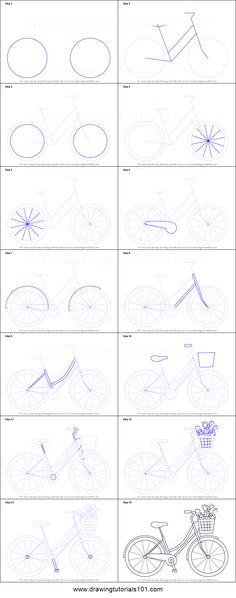 How to Draw a Cute Bicycle printable step by step drawing sheet : The post How to Draw a Cute Bicycle printable step by step drawing sheet : DrawingTutoria& appeared first on Trendy. Bicycle Sketch, Bicycle Drawing, Bicycle Art, Bicycle Stand, Bamboo Bicycle, Wooden Bicycle, Folding Bicycle, Retro Bicycle, Cruiser Bicycle