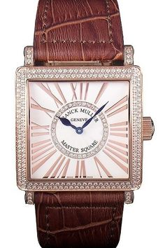 Replica Franck Muller Master Square Diamond Encrusted Rose Gold Bezel Watch With Brown Croco Leather Bracelet