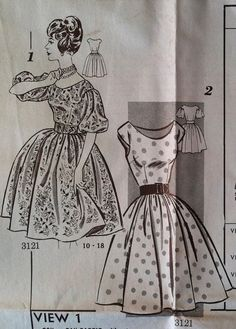 Vintage 1960s Sewing Pattern Clotilde Mail Order 3121 Misses' Full Skirt Dress Bust 36 Size 16.  Retro Sewing Patterns Mad Men. Rockabilly.