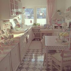 Love this Pastel Kitchen/Dining Area