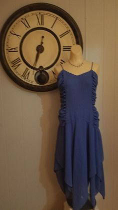 True Vintage Guy Laroche Newburyport Blue Dress Sz 44 / 14 US L/XL France…