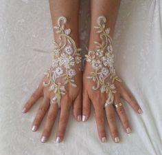Ivory gold or ivory frame wedding gloves bridal by GlovesByJana                                                                                                                                                                                 More