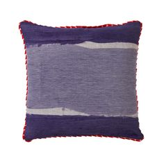 100% linen cushion hand screen printed with hand painted stripe design in purple and lilac, and hand painted stripe in orange, red and pink on the reverse finished with ribbon trim (C606).  Dimensions: 50cm x 50cm (feather insert included)  Care Instructions: Remove insert and hand wash or gentle machine wash separately with gentle laundry liquid, line dry and iron on reverse whilst slightly damp. Please do not bleach, tumble dry or dry clean.  To purchase cushion without its feather insert…