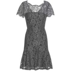 Diane von Furstenberg Fifi Lace Dress ($465) ❤ liked on Polyvore featuring dresses, grey, gray dress, grey lace cocktail dress, lace dress, grey cocktail dress and lacy dress