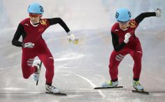 DAY 9:  Wu Dajing of China and Han Tianyu of China compete during the Short Track Men's 1000m http://sports.yahoo.com/olympics