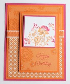 Use versamark and stamps to match cardstock to patterned papers I have on hand!