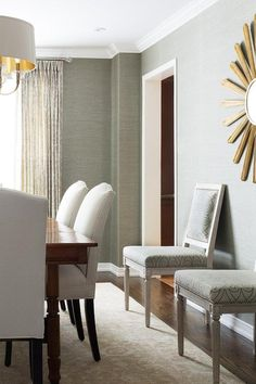 dining wall gold grasscloth sunburst mirror gray accented boasts elegantly designed grey chairs chartreuse accent visit elegant buffet